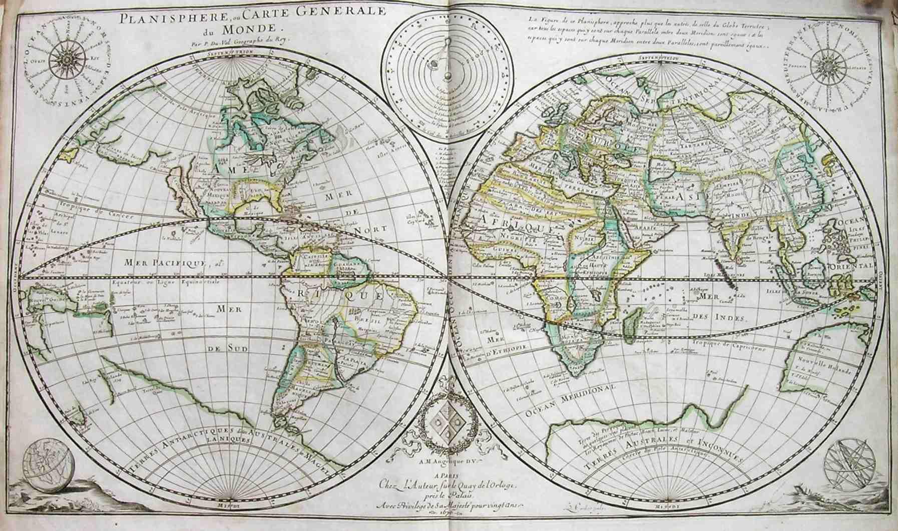 world planisphere ou carte generale du monde michael jennings antique maps and prints. Black Bedroom Furniture Sets. Home Design Ideas