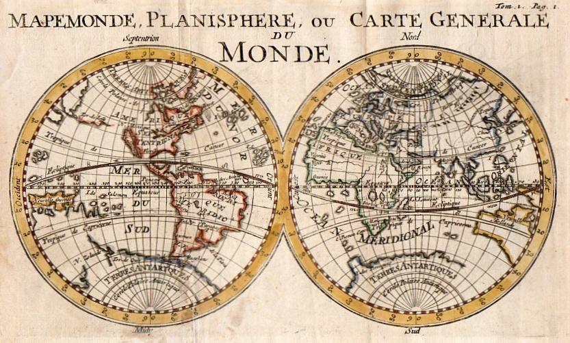 world mapemonde planisphere ou carte generale du monde michael jennings antique maps and prints. Black Bedroom Furniture Sets. Home Design Ideas