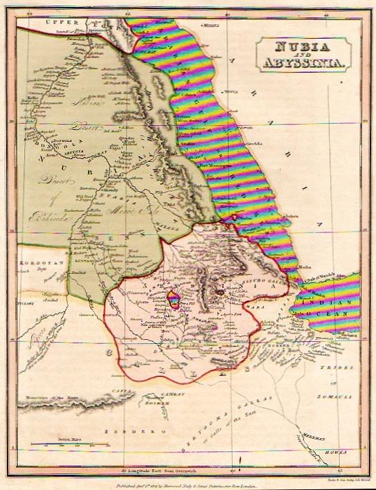SUDAN ETHIOPIA NUBA AND ABYSSINIA || Michael Jennings Antique Maps