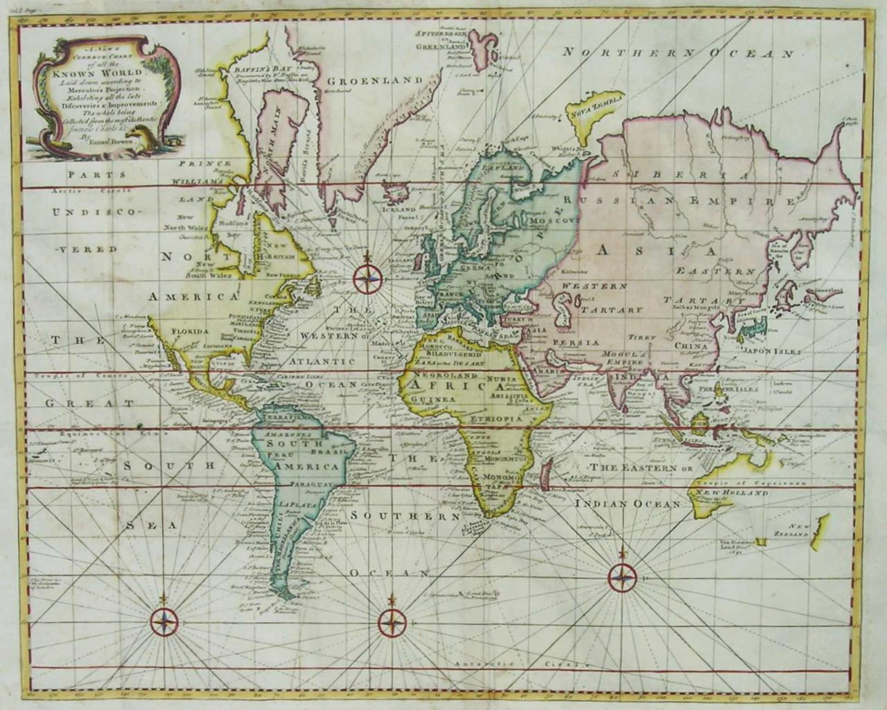 WORLD A NEW CORRECT CHART OF ALL THE KNOWN WORLD Michael Jennings An