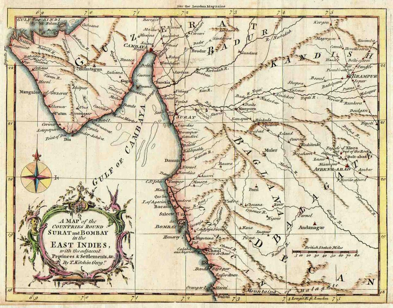 BOMBAY SURAT A MAP OF THE COUNTRIES AROUND SURAT AND BOMBAY
