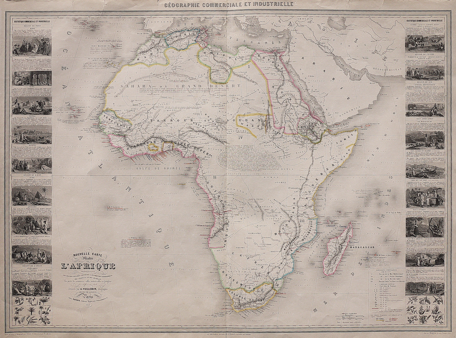Decorative Large Map Of Africa With Vignettes Michael Jennings - Large decorative maps