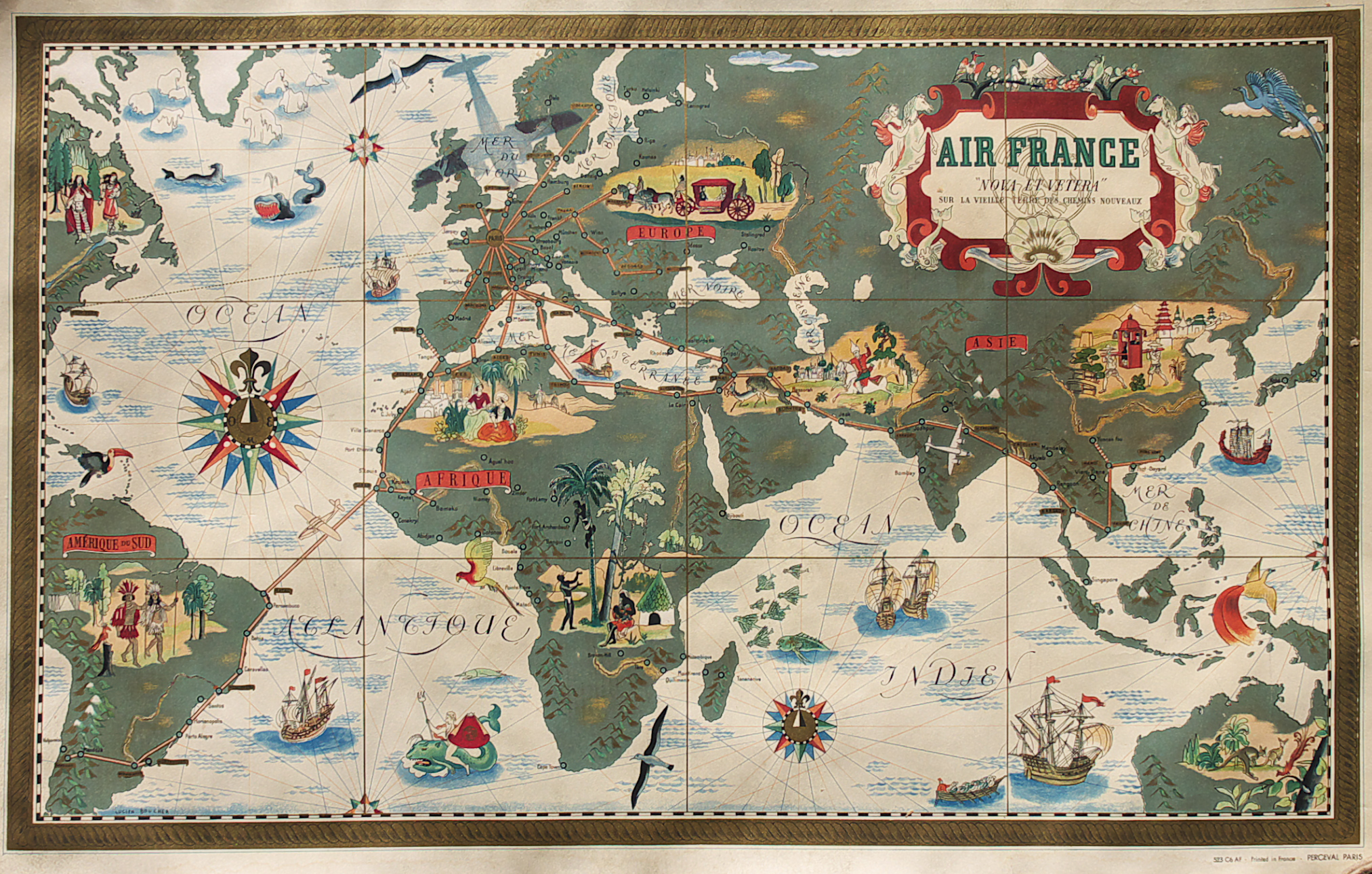 Map Of France Poster.Air France Poster Boucher Perceval 1939 Michael Jennings Antique