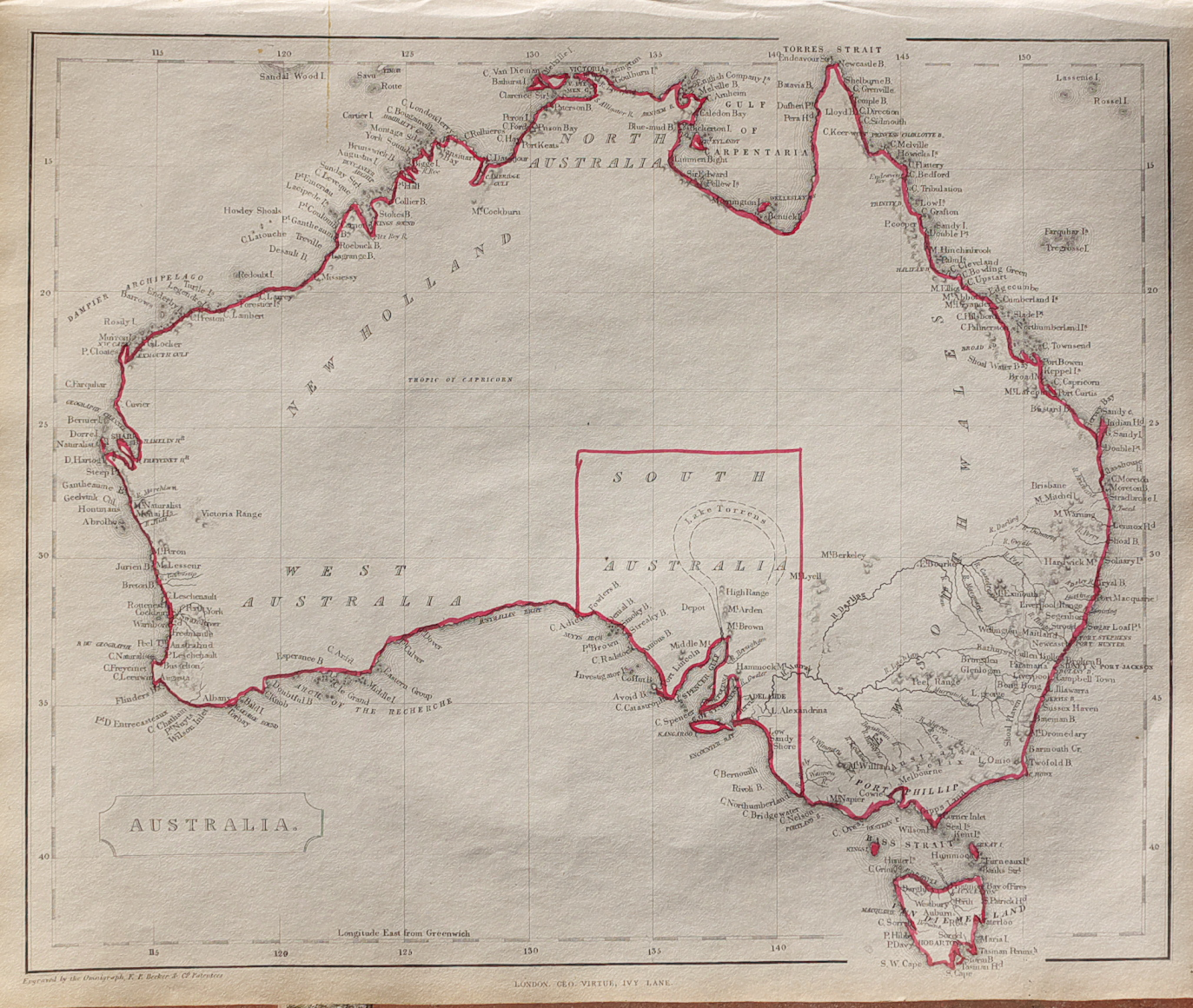 Direction Map Australia.1848 Map Of Australia Michael Jennings Antique Maps And Prints