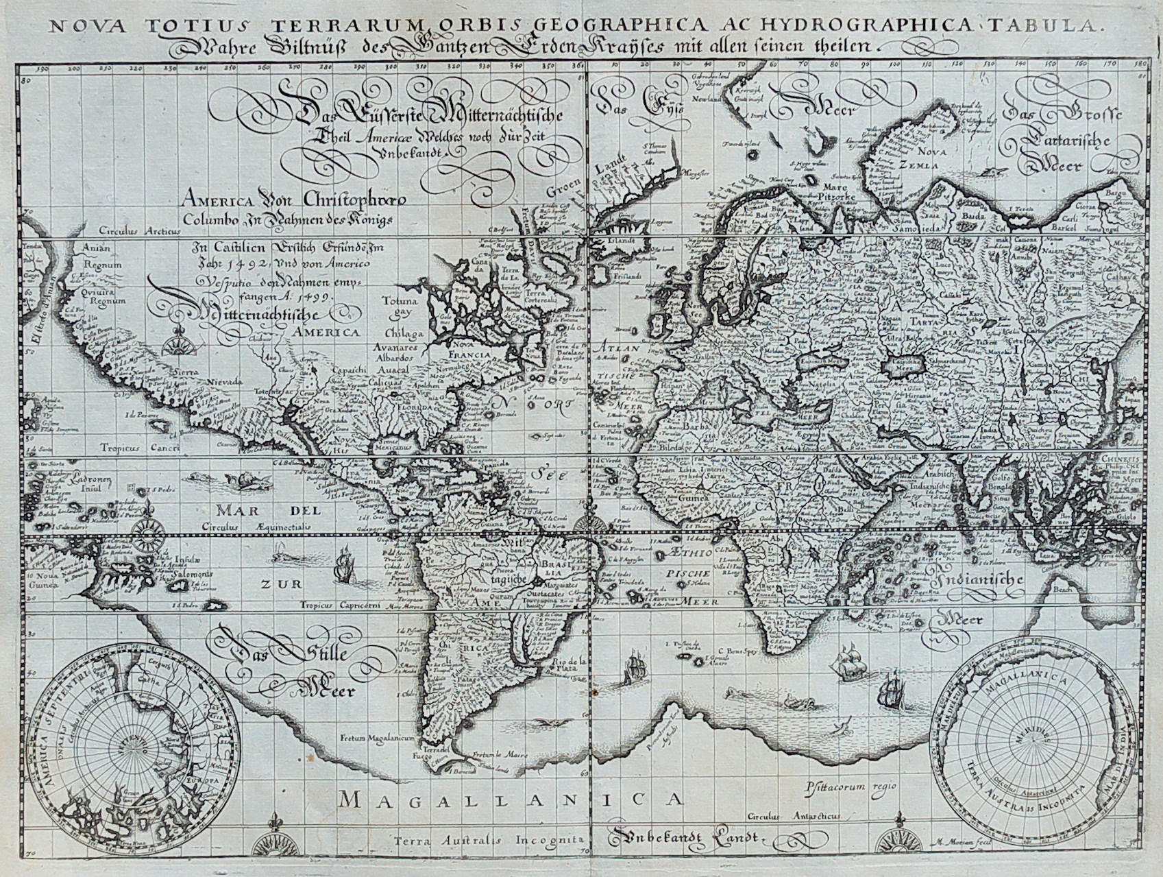 Merians world map in planisphere michael jennings antique maps world antique map gumiabroncs Images