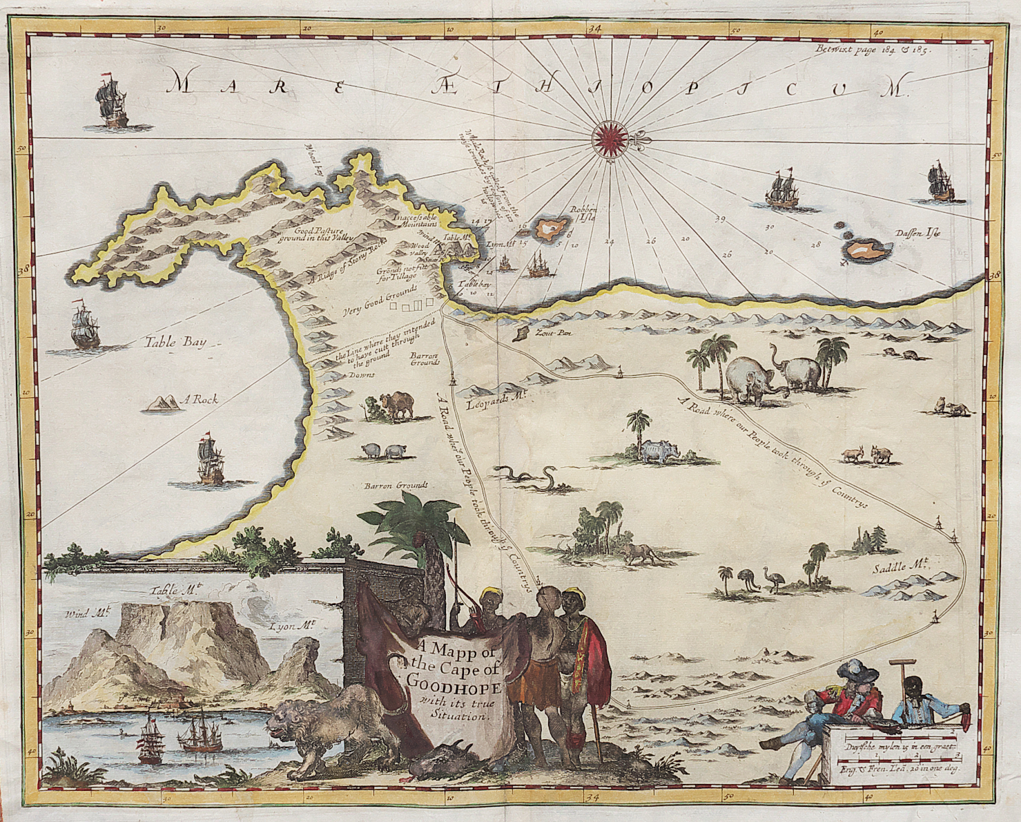NIEUHOF\'S SCARCE MAP OF CAPE OF GOOD HOPE CAPE TOWN ...