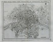 PARIS MAP PLAN DE LA VILLE,CITE,UNIVERSITE ET FAUXBOURGS DE PARIS