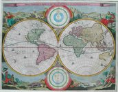 STOOPENDAAL'S ANTIQUE MAP OF THE WORLD  HAND COLOUR