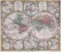 SEUTTER'S STUNNING ANTIQUE MAP OF THE WORLD  CALIFORNIA ISLAND