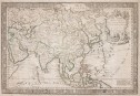 DANET VERY RARE LARGE DECORATIVE MAP OF ASIA