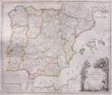 VAUGONDY LARGE FOLIO MAP OF SPAIN  POST ROADS 1757