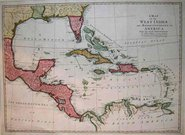 A MAP OF THE WEST INDIES AND THE MIDDLE CONTINENT OF AMERICA
