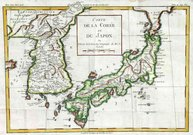 CARTE DE LA COREE ET DU JAPON